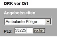 PLZ-Suche und Geokarte - Ambulante Pflege Suchmaske