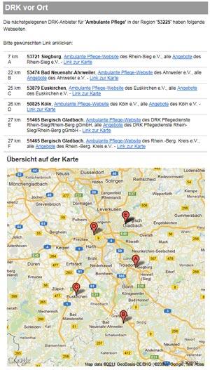 PLZ-Suche und Geokarte - Ambulante Pflege
