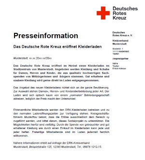 Presseinformation zur Eröffnung eines DRK-Kleiderladens