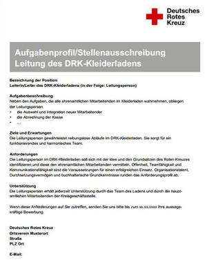 Aufgabenprofil/ Stellenausschreibung aus der Anlage der Rahmenkonzeption