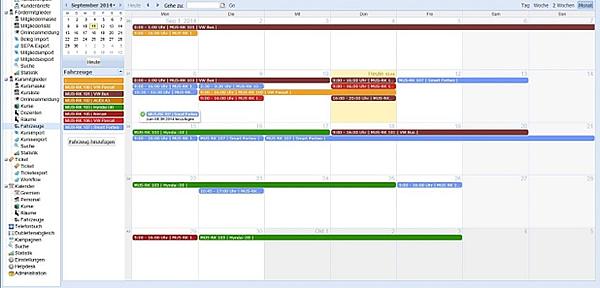 Kundendatenbank: Planungstools mit Kalenderansicht