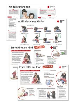 Plakatset zur Ersten Hilfe am Kind mit 4 Motiven