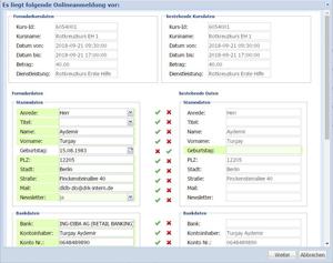 Formulardaten in der Kundendatenbank gespeichert.