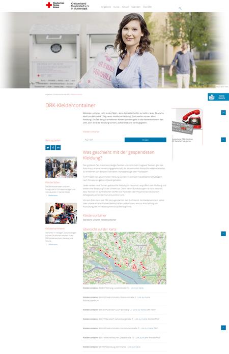 Kleidercontainerseite mit Suche und Anzeige