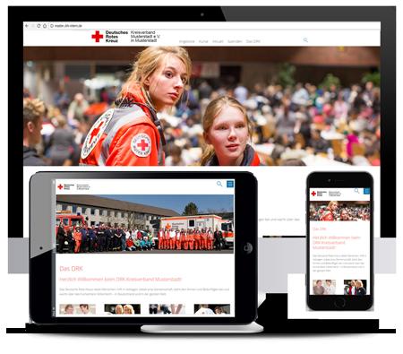 Die neue DRK-Mustervorlage im  responsive Design für Handy, Tablet und PC