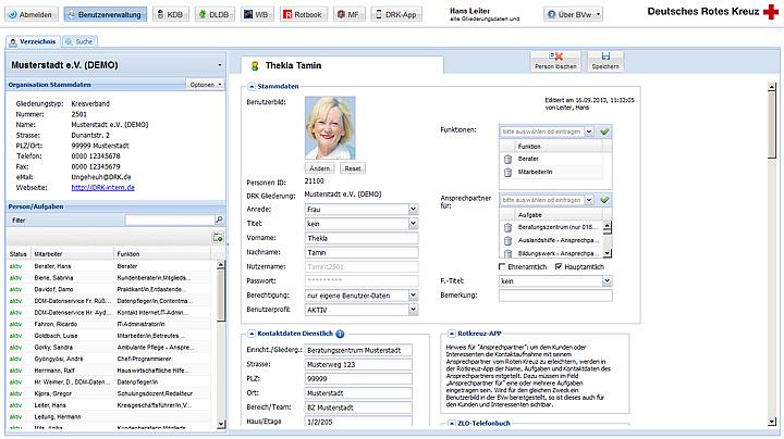 Ansprechpartner gesucht - Grundlage dafür sind die Informationen zu DRK-Mitarbeitern in der Benutzerverwaltung
