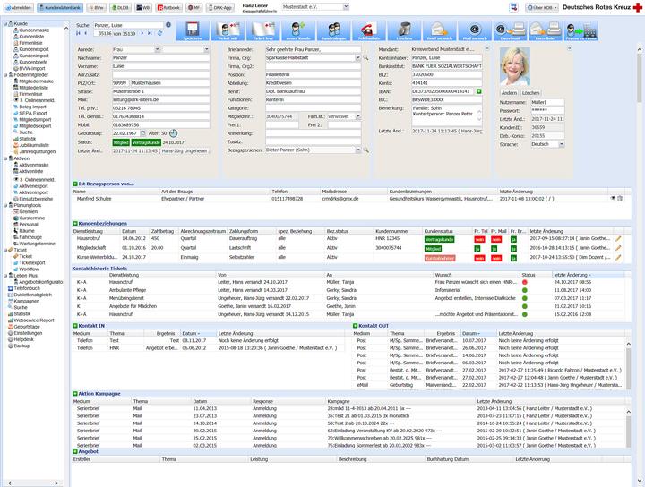 Mitgliedermaske in der Fördermitgliederverwaltung der Kundendatenbank