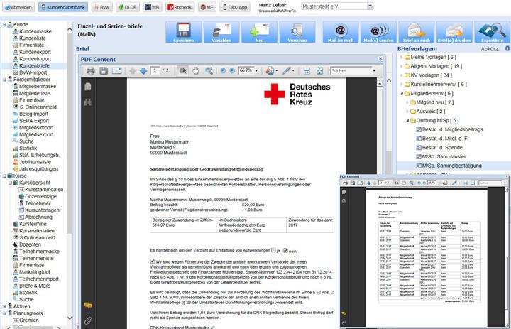 Einzel- und Serienbriefe (Mails) - Spendenquitungen