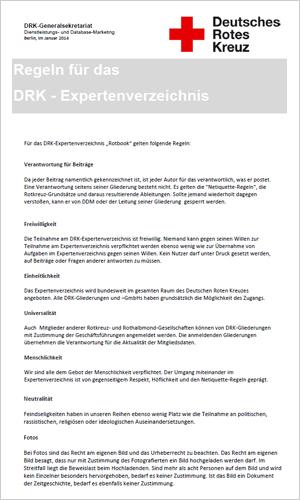Regeln zum DRK-Expertenverzeichnis. Bitte Bilder downloaden, ggfs. rechte Mousetaste nutzen