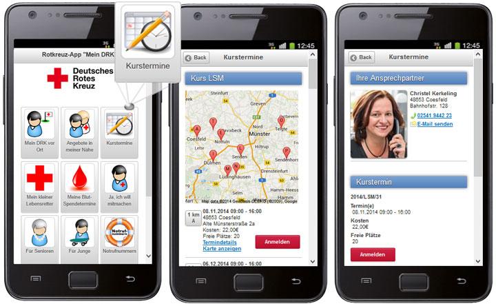 Die DRK-App mit Kursterminsuche, Karten- und Trefferanzeige, Kontaktinformationen und Anmeldemöglichkeit