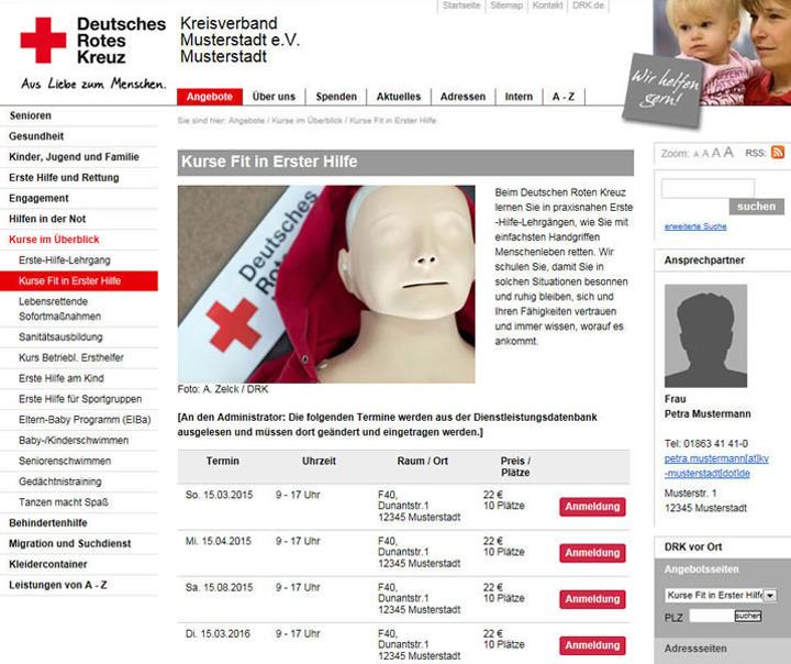 PLZ-Suche für Kurstermine auf DRK-intern.de testen