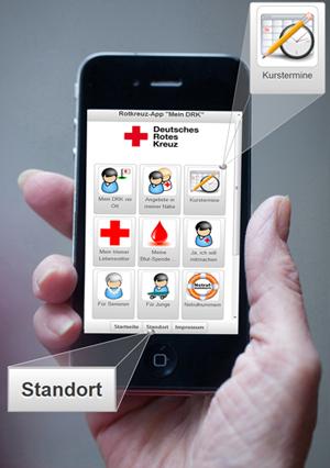 DRK-App für Android- und iPhone-Geräte mit neuen Funktionen: Kurstermine und Standort - Ihr Browser unterdrückt die Anzeige der Bilder. Bitte Grafiken zulassen oder Bilder anzeigen lassen.