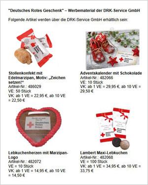 Weitere Weihnachtsartikel der DRK-Service GmbH